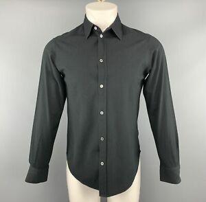 A.P.C. Size S Black Textured Cotton Button Up Long Sleeve Shirt