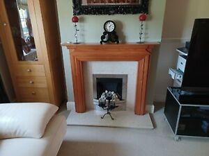 gas fire marble hearth/backing and solid wood surround,