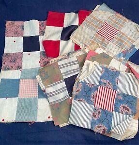 Vintage Floral Stripe Polka Dot Plaid Print Calico Cotton Quilt Square Block Lot