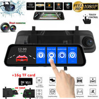 10'' Dual Lens 1080P  touch screen Dash Cam Rearview Mirror Car Camera +TF card