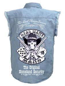 Mens Aces And Eights Dead Mans Hand 2nd Amendment Blue Denim Cutoff Biker Shirt