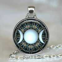 """CRESCENT MOON HALF STAR pendant 20"""" Sterling Silver 925 necklace chain female"""