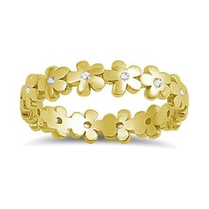 Camellia Flower Simulated Diamond Yellow Gold Finish Knuckle or Child Band Ring
