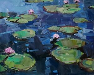 JOSE TRUJILLO Oil Painting IMPRESSIONISM WATERLILIES GARDEN POND SIGNED LARGE