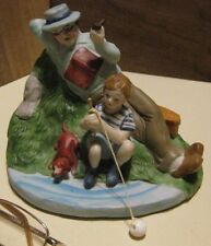 Ceramic Figurine Boy, Grandpa & Dog At The Fishing Hole
