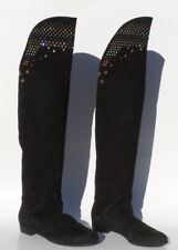 GIUSEPPE ZANOTTI Black Suede Multi Crystal Studded Over the Knee Flat Boots 41