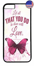 Butterfly Love Bible Verse Rubber Case Cover iPhone 11 Pro Max Xs XR 8 Plus 7