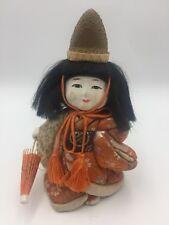 Antique Vintage Japanese Gofun Hina Doll Silk Kimono Glass Eyes Festival Hat