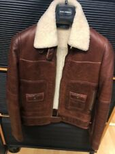 Woman's Brown Dolce & Gabana Leather Coat with Fur Collar never worn Authentic