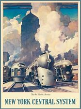 New York Central System Public Service Locomotive United States Travel Poster