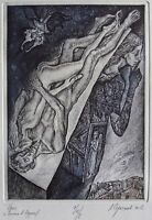 EROS III Original Etching by Leonid STROGANOV, Russian Ex Libris Artist genre