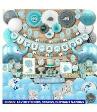 Big kit!Blue Elephant Baby Shower Decorations for Boy Party Supplies Kit
