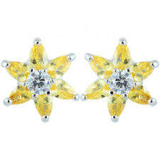 Schmuck CZ 18K White Gold Plated Marquise Cut Stud Yellow Citrine Earrings