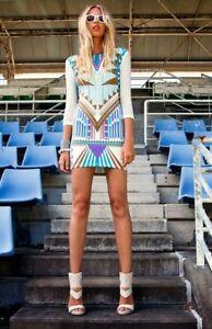 PREMONITION - Print Mini Dress (SP12-3001 - Turquoise Multi size 6)