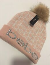BEBE Pink Sparkly brown Faux Fur Pom Pom Women's Stylish Hat Comfy NEW ONeSIZE
