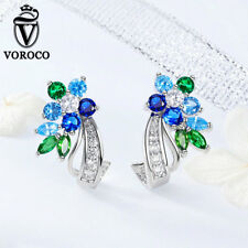 Voroco 925 Silver Stud Earrings With AAA Blue & Green CZ Fashion Girl Jewelry