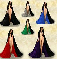 Halloween Medieval Velvet Hooded Cloak Gothic Wicca Robe Wedding Cape S-6XL