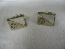 Mother of Pearl Triangle Horsehead Cufflinks ~ CORNERS BROKEN ~ See Pictures!