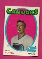 1971-72 OPC # 1 CANUCKS POUL POPIEL FAIR CARD  (INV#4507)