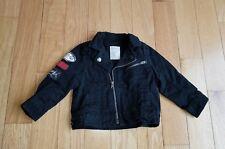 Boy LITTLE 77 American Eagle Black Biker Jacket Patches Moto Rockers Skull 12-18