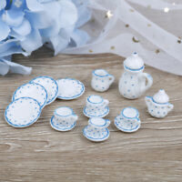 15Pcs 1:12 Dollhouse miniature blue dot tableware porcelain coffee tea cups s*T