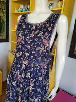 Vtg 90s Floral Corduroy Jumper Maxi Hipster Matronly Cottagecore Dress S/M