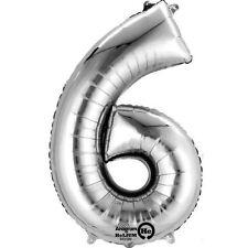 86.4cm Gigante Número 6 Silver Globo Metalizado de Helio Cumpleaños Aniversario
