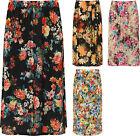 Plus Womens Floral Print Midi Skirt Ladies Elasticated Stretch Waist New