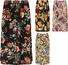 Plus Womens Floral Print Midi Skirt Ladies Elasticated Stretch Waist New