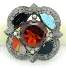 VTG MIRACLE Signed Silver Tone Topaz Rhinestone Stone Glass Pin Brooch