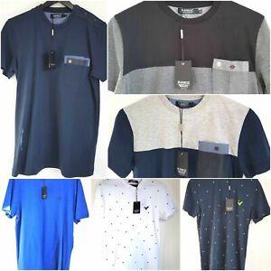 Men's Voi Jeans Crew Neck T-shirt Short Sleeve 100% Cotton Red Navy White S- 3XL