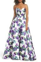 NWT Mac Duggal 66315H Violets Are Blue Strapless Floral Gown Ballgown 0 $398