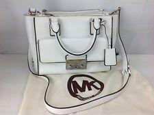 Michael Kors Audrey Medium Optic White Satchel Shoulder Handbag, KEY & Dust Bag