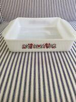 Vintage Fire King Primrose 8 inch Square Casserole Baking Dish White