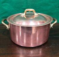 Copper Rondeau Pan w/ Lid Sauce POT VILLEDIEU France SS Lined CHEF'S COOKWARE