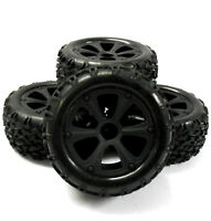 BS214-009x4 1/10 RC Nitro Monster Truck Off Road Wheels and Tyres x 4 Black