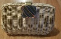 Vintage Exclusively/Rare Crown LEWIS British Hong Kong Tan Wicker Purse/Grade A-