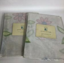 """2 Pottery Barn Kids Floral Sheers Tie Top Drapes Panels Curtain  63"""""""