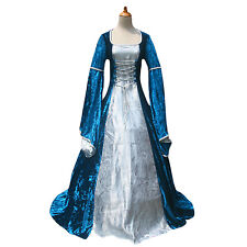 Blue Velvet Embossed Satin Renaissance Fair Medieval Tudor Princess Gown Dress