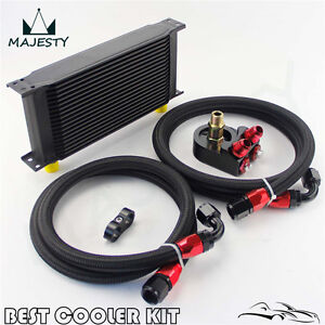 19 Row An10 Universal Engine Transmission Oil Cooler Kit+Filter Adapter Hose Kit