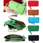 Fashion Zipper Clutch Handbag Wallet Women Leather Long Bifold Purse Card Holder
