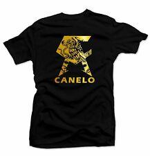 CANELO Men's T-shirt.Mexico flag, Alvarez Boxing Gold Foil.Unisex Black Tee