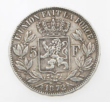 Belgium 5 Francs 1872 Leopold II silver coin           BB+ Exc+++    # M054