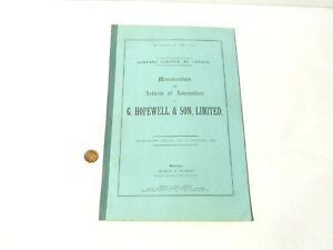1929 Original Shares Booklet Memorandum & Association G. Hopewell & Son Ltd.