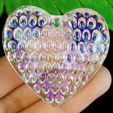 43x43x15mm Faceted White Titanium Crystal Heart Pendant Bead S66751