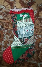 Handmade Christmas Stocking One of a Kind Quilted Holly Poinsettia Ribbon Lace
