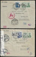 SPAIN 1943 TO GERMANY TWO NAZI WAR TIME CENSORED COVERS WITH RED & BLACK MARKING
