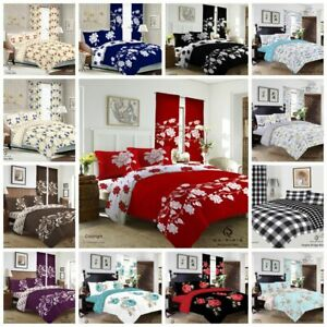 New 4Pcs Bedding Set Duvet Cover With Matching Fitted Sheet & Pillow Cases