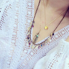 Retro Vintage Feather Tassel Long Necklace Turquoise Gold Boho HOT Blue