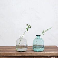1 Teal Bubble Glass Bottle Vase. Vintage Blue Toska Nkuku Short Bud Wedding